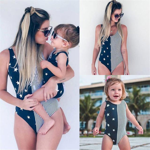 Stars stripes mommy and me baby daughter matching swimsuit (1462479355947)