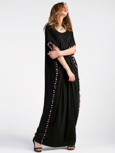 """Vibing"" Boho Long pom pom maxi dress"