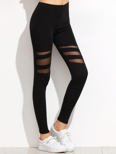 Sheer insert fashion leggings (1462514483243)