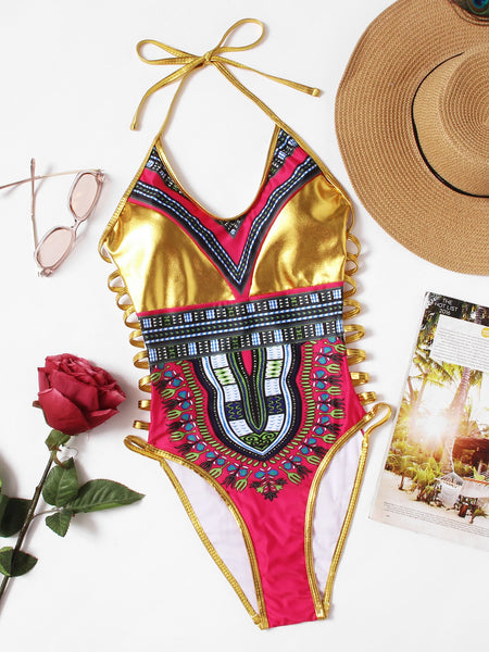 Gold cutout side African tribal monokini swimsuit (1462485942315)