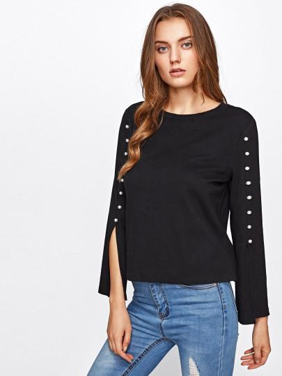 Pearl detail split sleeve top (1462512910379)