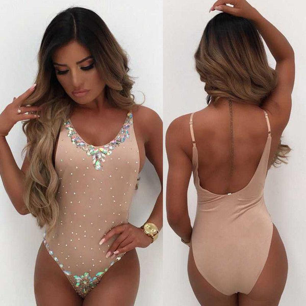 """Irresistible"" rhinestone detail monokini one piece swimsuit"