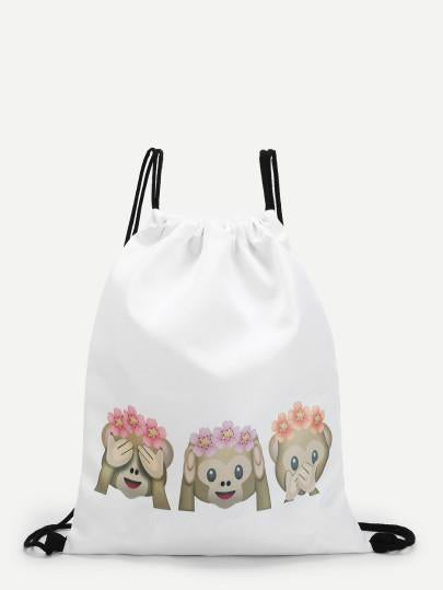 Monkey emoji drawstring backpack