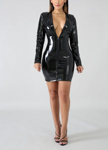 Latex wet look long sleeve deep v zipper bodycon leather dress (2180153638955)