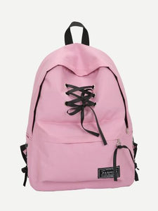 Lace up Style fashion school travel backpack (1462455664683)