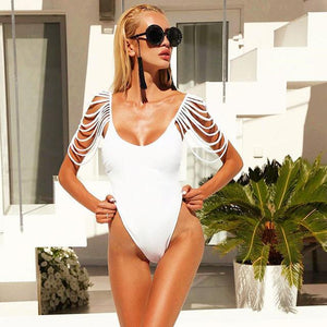 Strappy sleeve one piece monokini swimsuit (1462466805803)