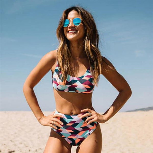 """Cali love"" 2 piece high waist tankini swimsuit set (1462458417195)"