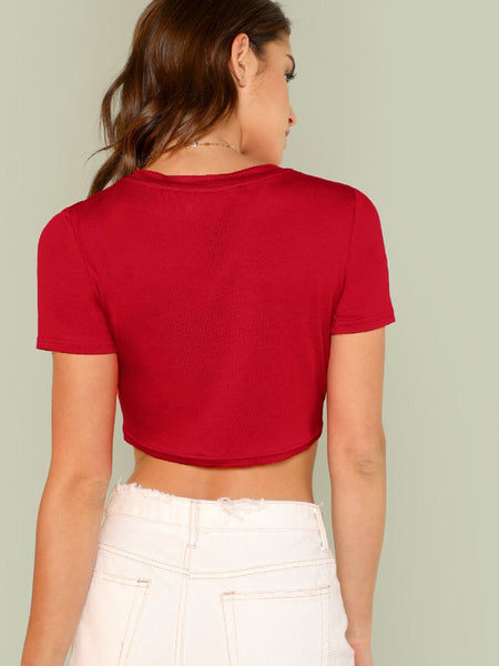 Limited edition tie front crop top (1462459465771)
