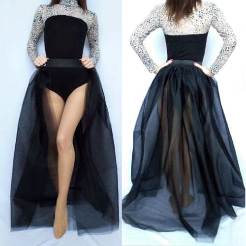Classic vintage open wrap tulle tutu train long skirt (4111435464747)