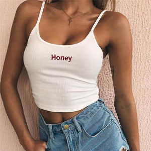 Honey text tank crop top