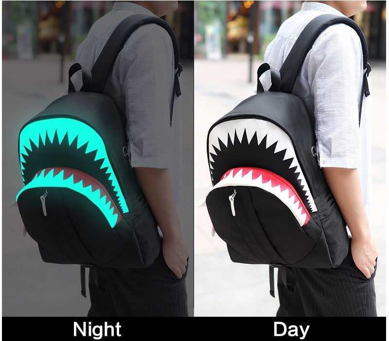 Glowing 3d shark usb backpack school bag book bag (1842460819499)