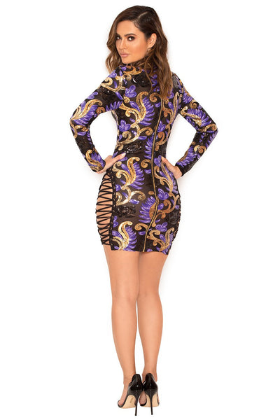 """What a night"" sequins side lace up bodycon dress"