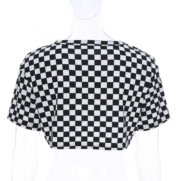 Black and white Checkered crop tshirt (1462470639659)