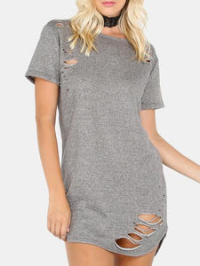 "So ""Ye"" Ripped fashion tshirt dress - Iconic Trendz Boutique (1462580379691)"