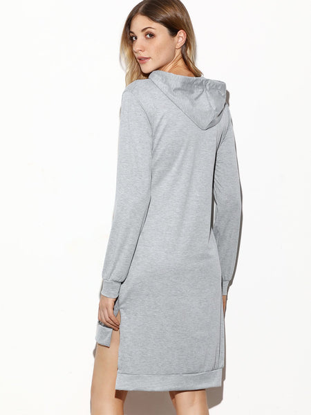"""GET RIGHT"" Grey Hooded Side Split High Low Sweatshirt Dress - Iconic Trendz Boutique (1462551805995)"