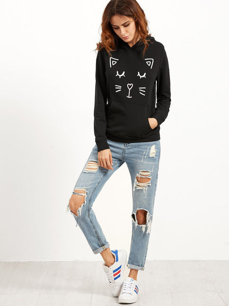 Cat ears hoodie pullover sweater - Iconic Trendz Boutique (1462562750507)