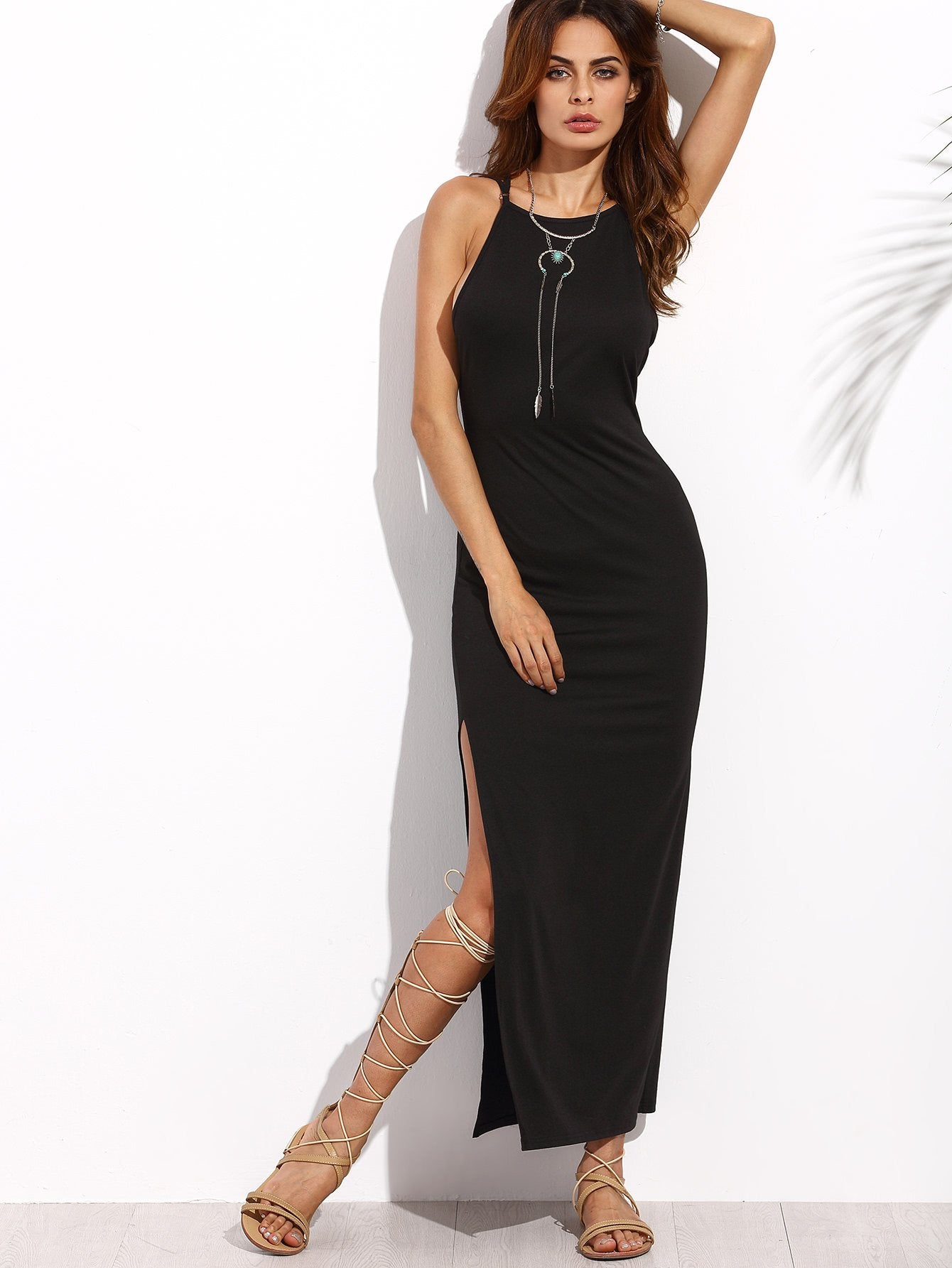Trendy criss cross back side split maxi dress - Iconic Trendz Boutique (1462551642155)