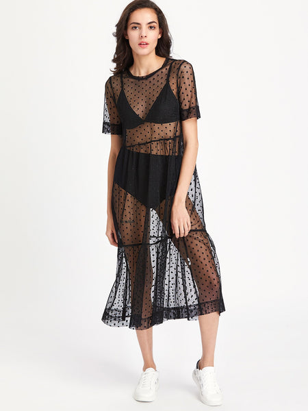 """No Edit"" polka dot sheer mesh couture dress - Iconic Trendz Boutique (1462551412779)"