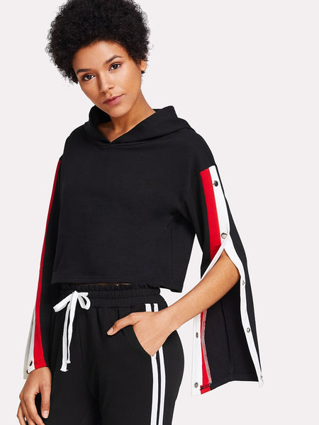 Classic side snap split stripe crop hoodie sweatshirt (1462482468907)