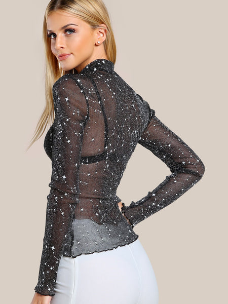 Glitter mesh turtle neck long sleeve top - Iconic Trendz Boutique (1462531522603)