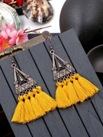 Fringe vintage statement earrings (1462453469227)