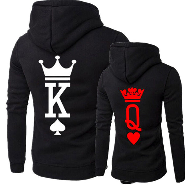 Queen king crown letter pullover hoodie match couple sweater top (4350262935635)