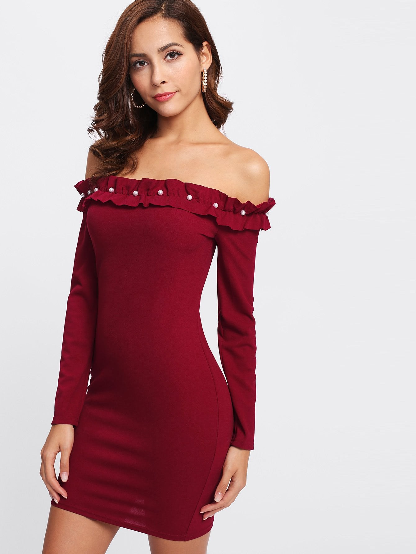 Off the shoulder ruffle pearl bodycon dress (1462508355627)