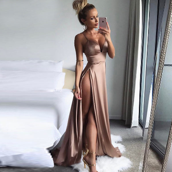 """Dare"" Satin high split long dress (1478865649707)"