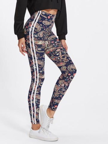 Paisley side stripe fashion leggings (1462516678699)