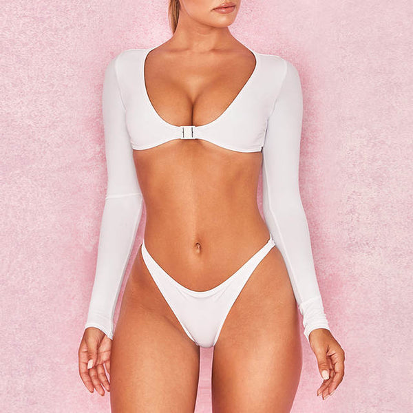 Runway Long sleeve 2 piece bikini swimsuit (1689527025707)