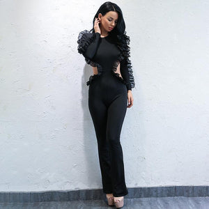 """Nova"" black ruffle detail open back jumpsuit"