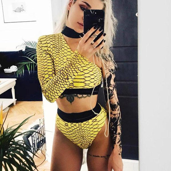 """Run the world"" luxury choker one shoulder 2 piece bikini swimsuit set (1462463791147)"