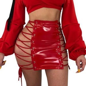 """Popular"" extreme lace up latex mini skirt (1462475915307)"