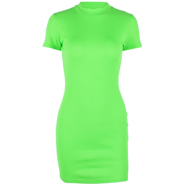 Neon green mock neck bodycon mini dress (2180138598443)