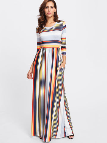 Stripe summer detail long maxi dress (1462500818987)