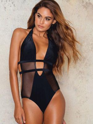 Black Sheer panel monokini one piece bikini (1462497247275)
