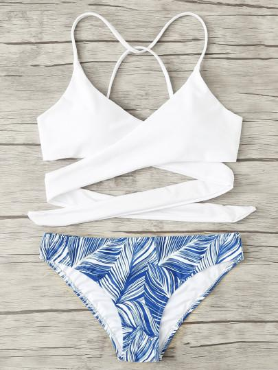 Wrap up lace up blue leaf 2 piece bikini set (1462470279211)