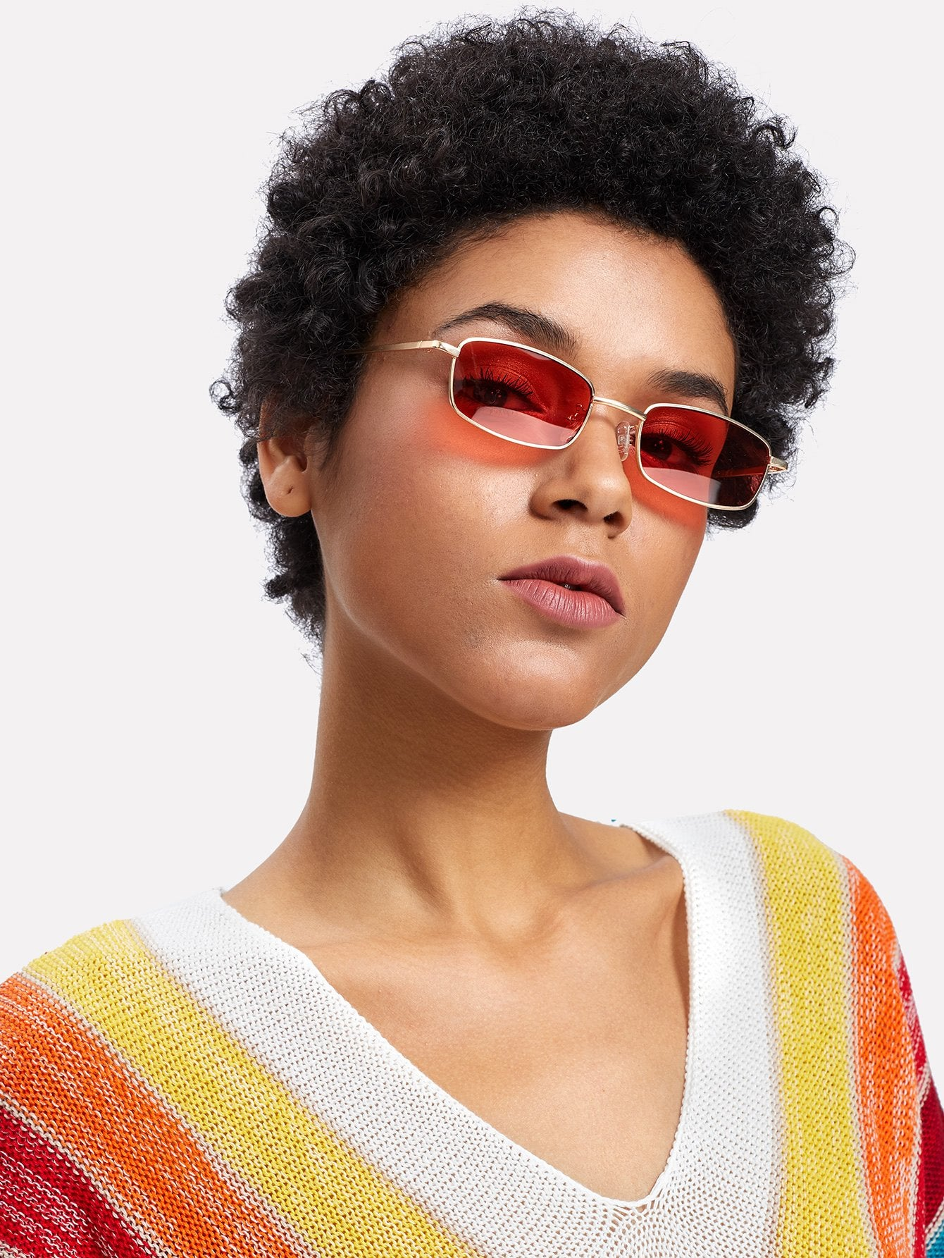 Retro classic color square small frame sunglasses (1462468247595)