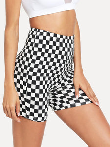 Checkered racing biker shorts leggings