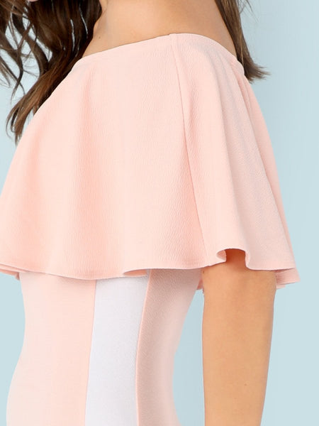 Classic off the shoulder ruffle bodycon dress (1462462185515)