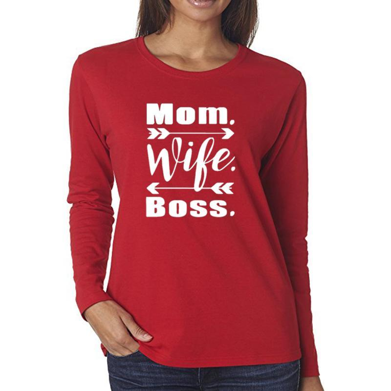 Mom wife boss long sleeve printed tshirt (1462477127723)