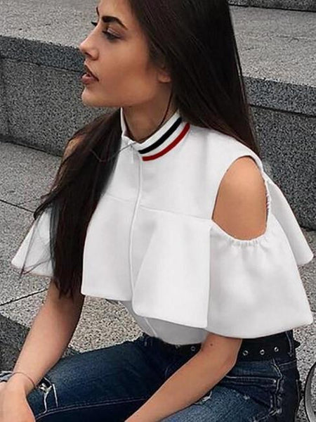 """juicy"" off the shoulder ruffle crop top - Iconic Trendz Boutique (1462564290603)"