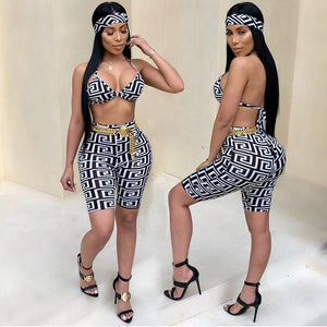 Ladies Bohemian Barbie 2 piece crop pants head tie set (1462463954987)
