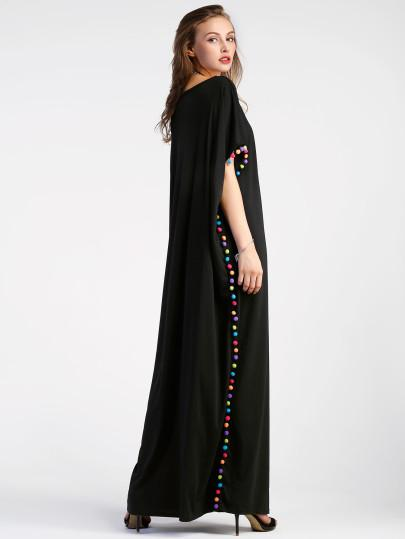 """Vibing"" Boho Long pom pom maxi dress (1462480502827)"