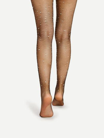 Diamond Rhinestone Embellished Tights Stockings (1462521364523)