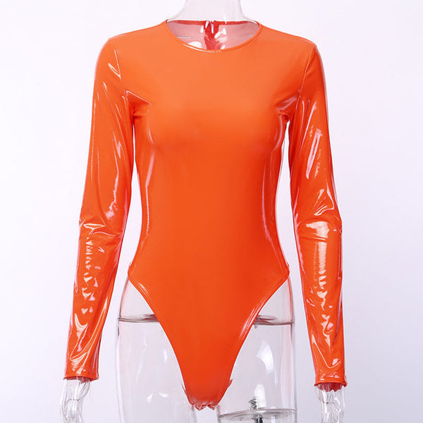Hot latex leather long sleeve bodysuit (4111423832107)