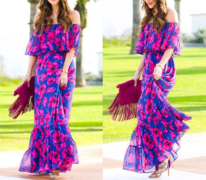Summer boho Off the shoulder floral maxi dress (1782059171883)