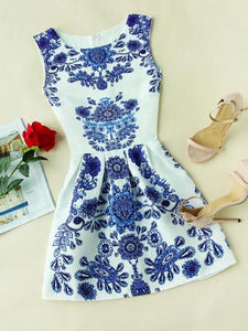 Blue porcelain skater evening dress (1462480404523)