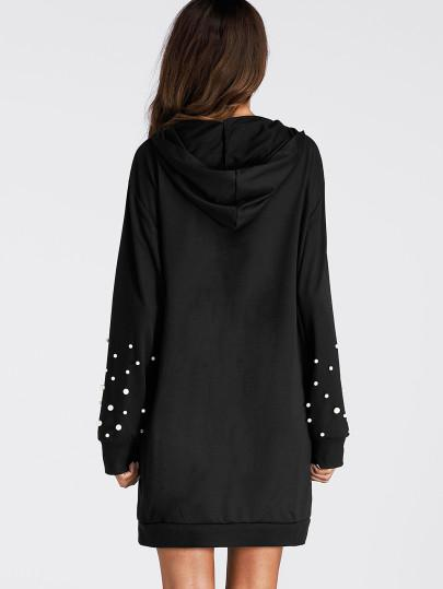 Pearl detail studded hoodie sweater dress (1462480109611)