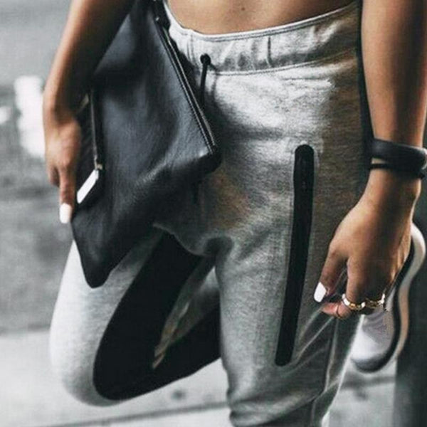 Women Grey insert fashion joggers pants (1462464479275)
